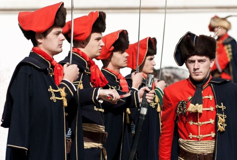 The Cravat Regiment stationed at St. Mark's Square in Zagreb, Croatia