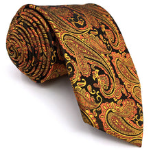 Paisley Orange, Gold & Black Pocket Square & Tie Set - Tom's Tie Shop