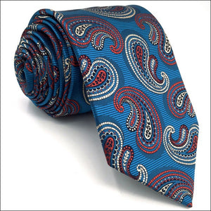 Paisley Blue & Red Tie - Tom's Tie Shop
