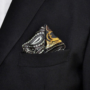 Paisley Black, Brown, and Yellow Pocket Square - Tom's Tie Shop