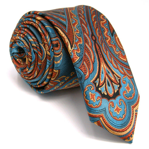 Paisley Blue & Orange Skinny Tie - Tom's Tie Shop