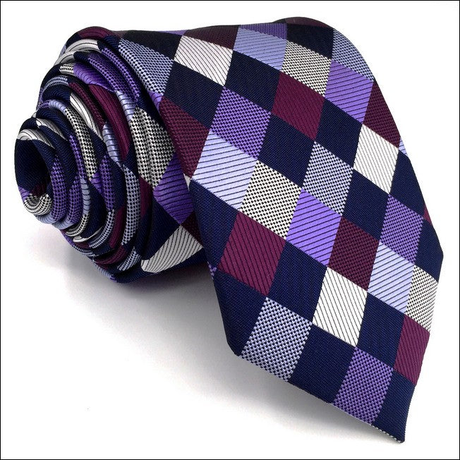 Checkered Purple Tie - Tom's Tie Shop