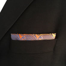 Paisley Orange & Light Blue Pocket Square - Tom's Tie Shop