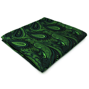 Paisley Dark Green Pocket Square