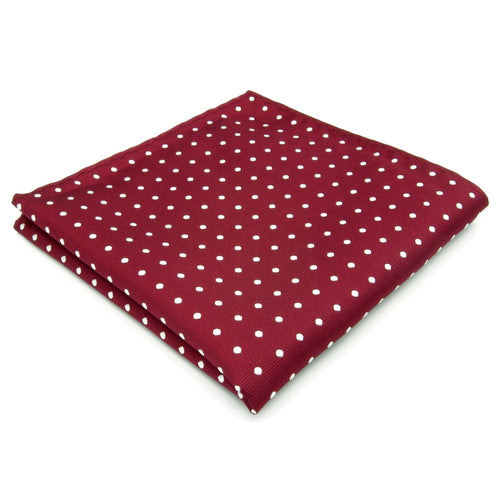 Spotted Crimson & White Pocket Square - Tom's Tie Shop