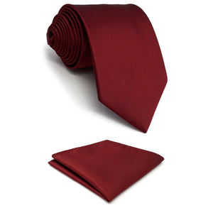 Solid Red Pocket Square & Skinny Tie Set - Tom's Tie Shop