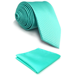 Patterned Solid Aqua Pocket Square & Tie Set - Tom's Tie Shop