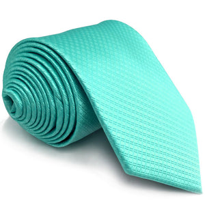 Patterned Solid Aqua Tie - Tom's Tie Shop