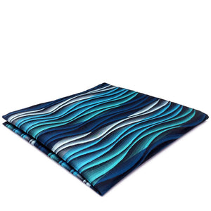 Turquoise Multicolour Ripple Patterned Pocket Square