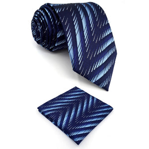 Patterned Navy & Light Blue Pocket Square & Tie Set - Tom's Tie Shop