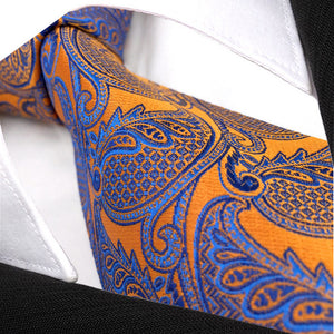Paisley Orange & Light Blue Tie - Tom's Tie Shop