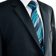 Turquoise Multicolour Ripple Patterned Tie