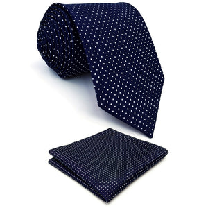 Spotted Navy Blue & White Pocket Square and Tie Set - Tom's Tie Shop