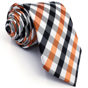 Checkered Orange, Black, and White Skinny Tie - Tom's Tie Shop