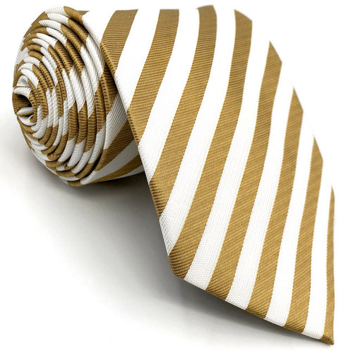 Striped Gold & White Tie - Tom's Tie Shop