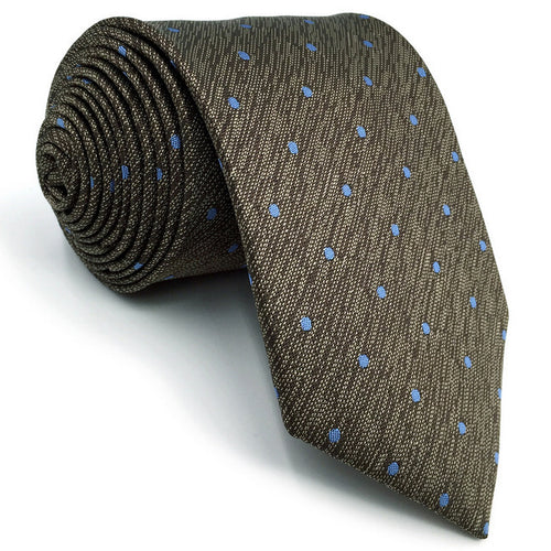 Spotted Brown & Light Blue Tie - Tom's Tie Shop