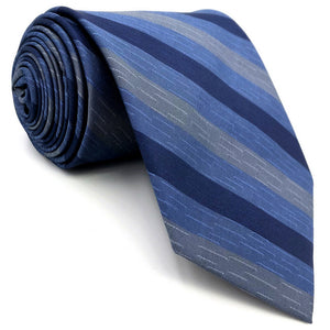 Striped Blue & Grey Tie - Tom's Tie Shop
