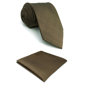 Solid Brown Pocket Square & Tie Set - Tom's Tie Shop