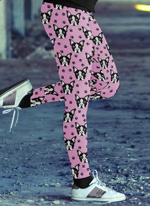 Pink Boston Terrier Leggings