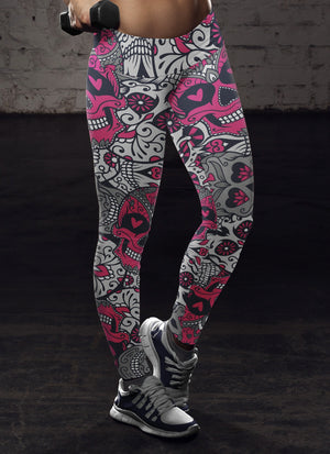 Pink and White Sugar Skull Leggings