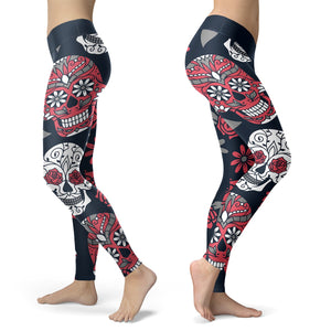 Red and Navy Sugar Skull Leggings