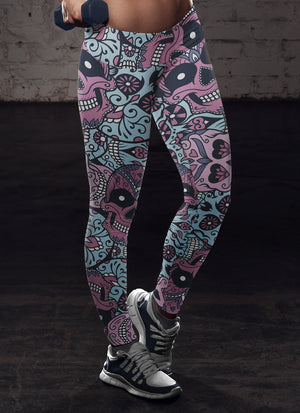 Purple and Light Blue Sugar Skull Leggings