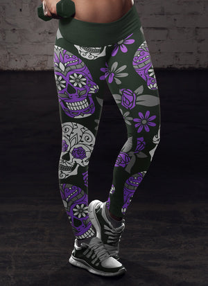 Purple and Dark Green Sugar Skull Leggings