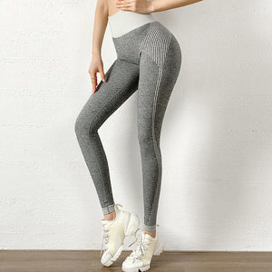 High Waist Seamless Striped Leggings