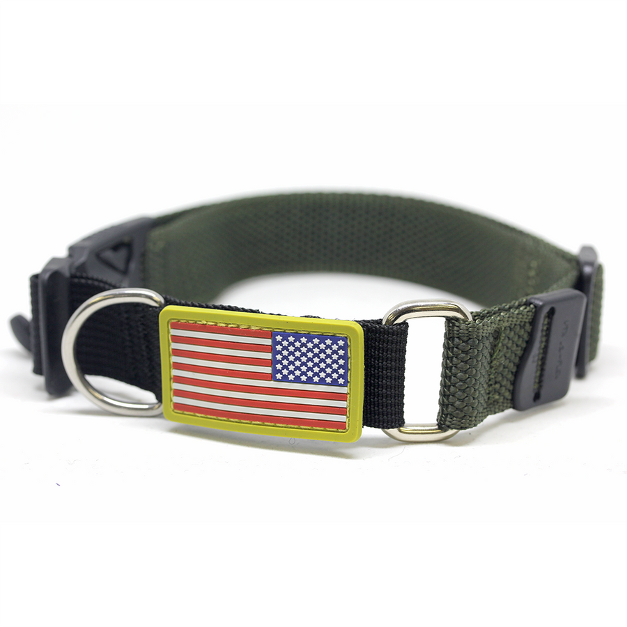 US FLAG Foliage Green Dog Collar with Fidlock® Magnetic Buckle - Alpinhound Pet Co.