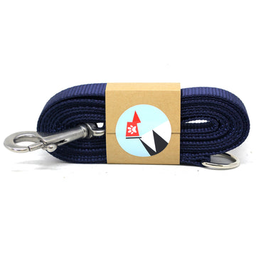 Navy Blue Dog Leash with Stainless Steel Snaphook and D-Ring - Alpinhound Pet Co.