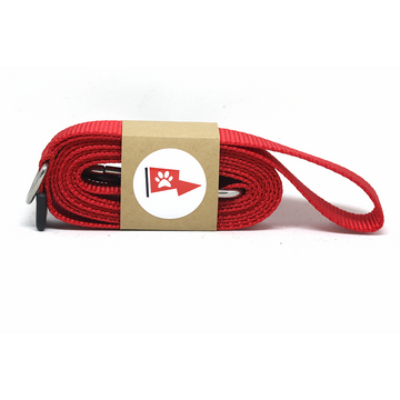 Red Dog Leash with Stainless Steel Snaphook and D-Ring - Alpinhound Pet Co.