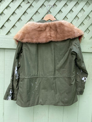 Painted army jacket with fur collar