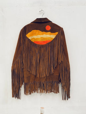 Sunset on a fringe jacket