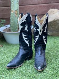 Vtg Black and White Dan Post Cowboy boots - size 9
