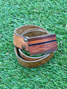 Wood and leather belt