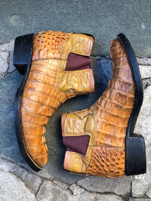 Brown crocodile ankle cowboy Charlie boots