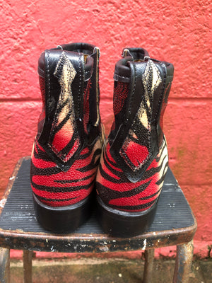 Hand painted stingray ankle cowboy boots