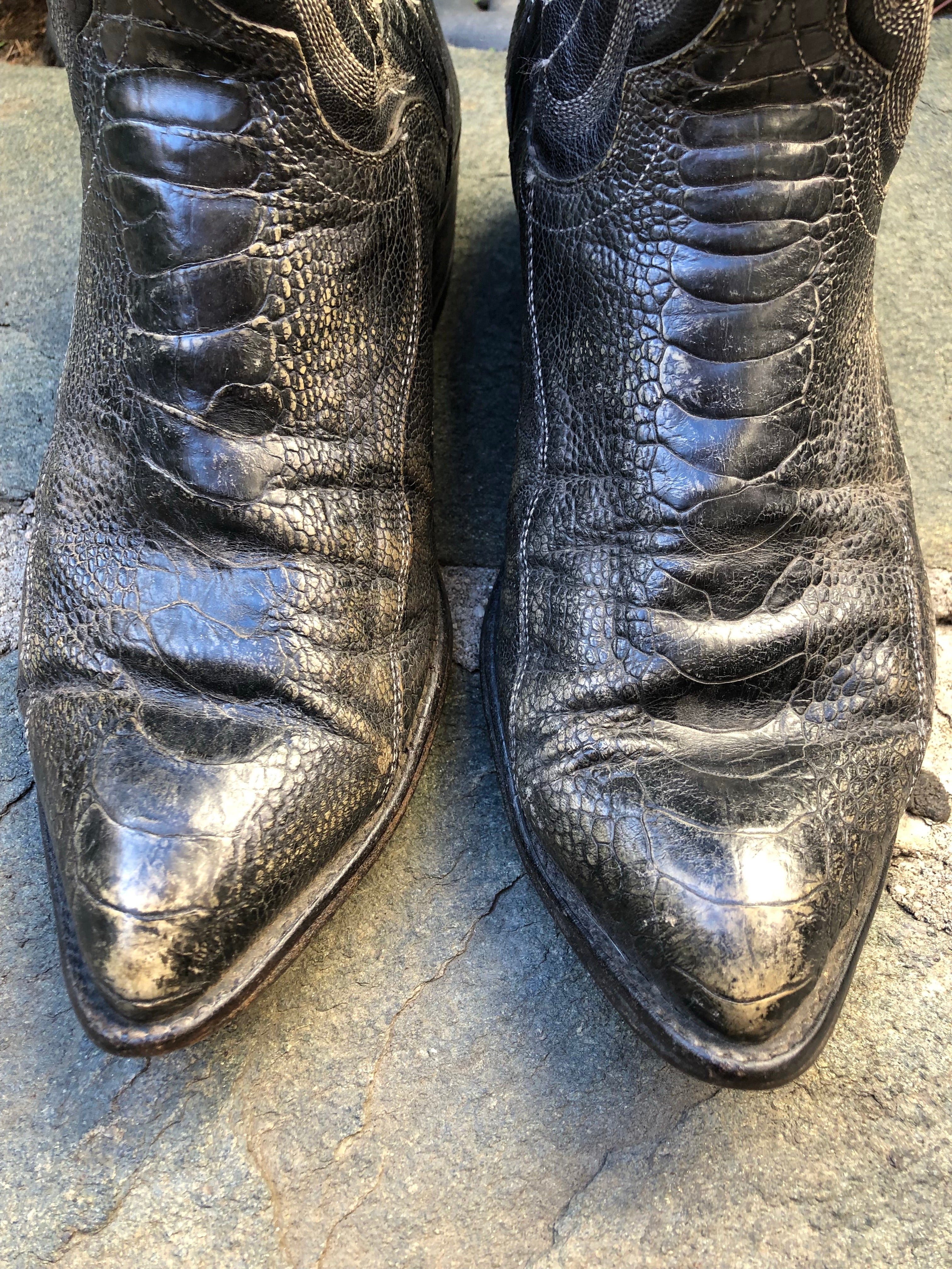 Black lizard skin ankle cowboy Charlie boots