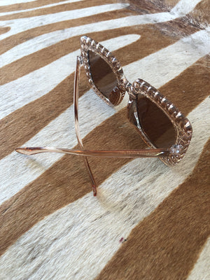 Champagne colored Rhinestone sunglasses