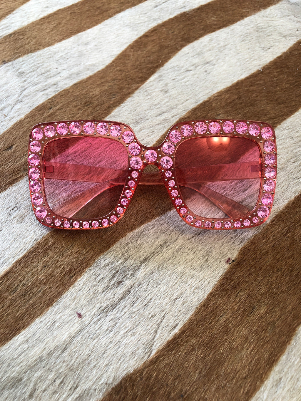 Pink on pink rhinestone sunglasses