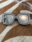 Black mirror rhinestone sunglasses