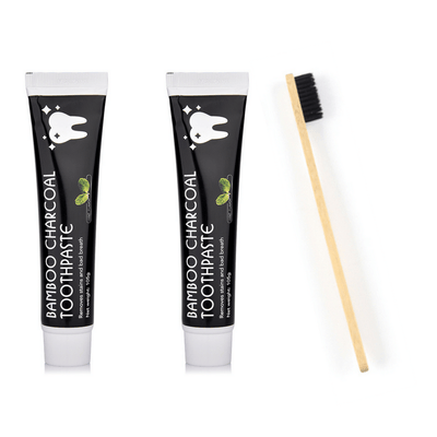 Double Dual Charcoal Toothpaste Plus Bamboo Toothbrush
