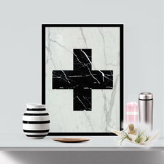Real Marble Cross Art Piece