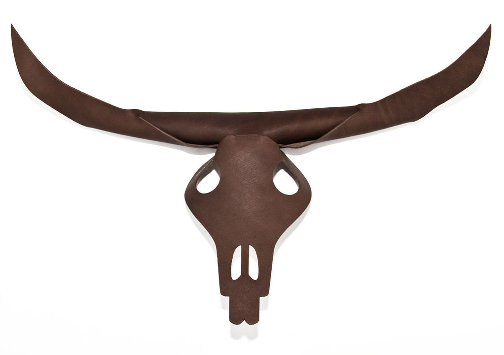 Bison Leather Stag Head Skull