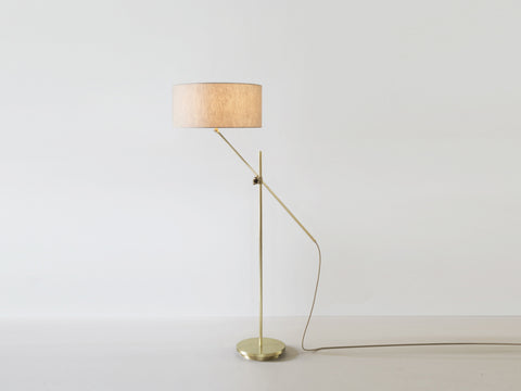 Shaded Brass Floor Lamp