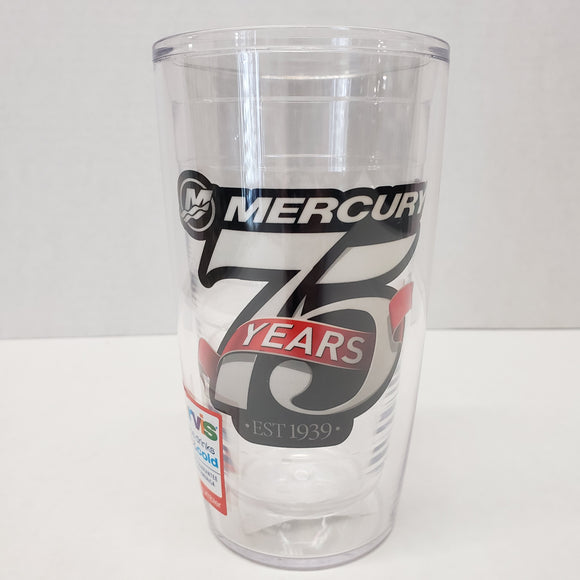 New Authentic Mercury Marine Tervis Tumbler Clear w/ 75 yr est 1939 16 oz
