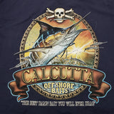 New Authentic Calcutta Short Sleeve Shirt  Navy/ Front Pocket/ Back Old School Marlin-Chain Large
