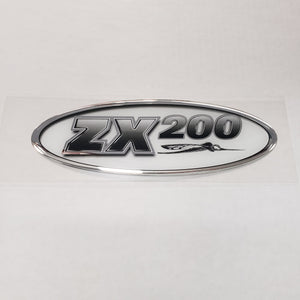 "New Authentic Skeeter ZX200 Oval Emblem Black/Silver 8 1/2"" X 3"""