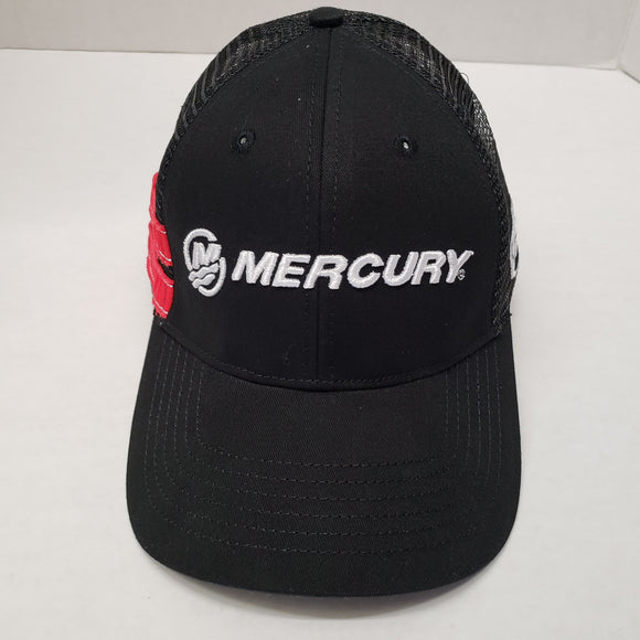 Authentic Mercury Marine Trucker Hat Black w/ Black Mesh