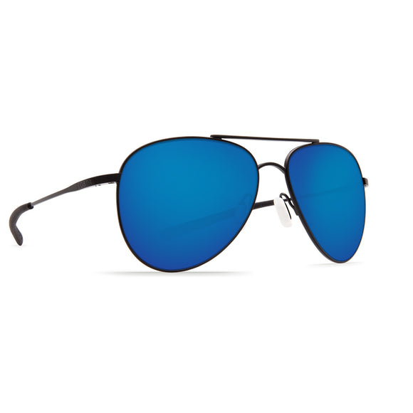 New Authentic Costa Cook Sunglasses Satin Black/ Polarized Blue Mirror Lens